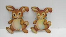 "Vintage 7"" Set Of 2 Cardboard Hopping Happy Bunny Easter Decoration eas33"