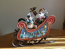 Roman Tinworks Musical Christmas Sleigh w/ Santa, snowman, gifts *Nib*