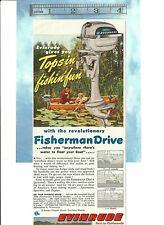 "Vintage 1949 Evinrude Fisherman Drive Outboard Motor Color Ad, 5"" x 12"""