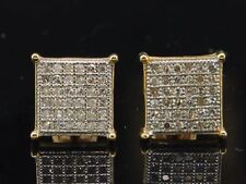Diamond Square Earrings Mens 10K Yellow Gold Round Pave Studs 1/4 Tcw.
