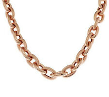 "Bronzo Italia 32"" Polished and Textured LInk Necklace"