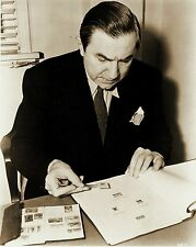RARE STILL BELA LUGOSI AS DRACULA OFF CAMERA WITH STAMP COLLECTION
