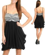 Sz 8 10 Black Silver Sequins Dance Party Cocktail Prom Sexy Gown Club Mini Dress