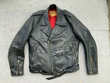 vintage biker leather jacket XXS-XS 32-34 motorcycle silver zips black punk rock