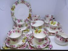 x12 PIECE VINTAGE FLORAL ROYAL DOULTON TEA SET CUPS, SAUCERS, TRIO JUG, BOWL ETC