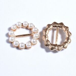 30PCS 19MM New Gold Round Crystal Pearls Rhinestone Buckle For Invitation Ribbon
