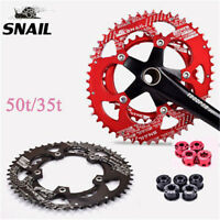 SNAIL 110bcd 50/35T Road Bike Chainring Double Speed Oval Chainwheel Disc Bolts