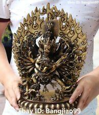 "13"" Tibet Tibetan Buddhism Bronze Buddha Yamantaka Yama Dharmaraja Statue"