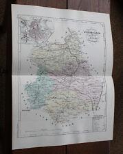 1850 Carte Géographique Atlas époque couleur Département 28 Eure et Loir