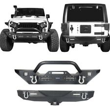 Front& Rear Bumper Combo w/ D-Rings &LED Lights For 2007-2018 Jeep Wrangler JK