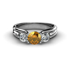 Citrine & Diamond Three Stone Ring With Thick Shank 1.26 cttw 14K Gold JP:32618