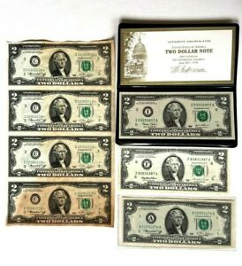 1976 $2 US Notes Bills Sheet First Year Star A Series 1995 2003 Uncirculated