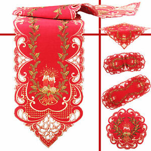 Christmas Candle Bell Fir Embroidery Tablecloth Runner Doily Linen-Look Red
