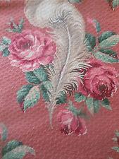 Antique Shabby Roses Plume Barkcloth Cotton Fabric ~ Rose