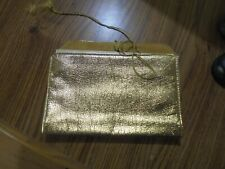 Rolfs Gold Lame Leather Jewelry Makeup Organizer Trifold Travel Pouch Case Vtg