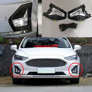 For Ford Fusion 2019-2020 LED Front bumper fog light w/Bulbs + Wire+ Bezel Kit