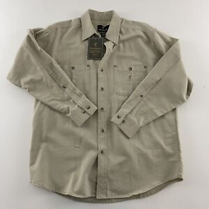 New Browning Men's Long Sleeve Button Front Shirt Beige Size Large