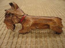 Carved Wood Scotty Scottie Westie Terrier Dog Brooch Glass Eye 20's-30's Vintage
