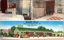 LUSK, Wyoming  WY   Roadside  SMITH'S COURT  1957 Linen   Postcard