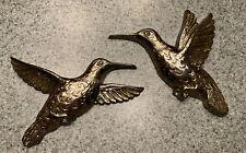 2 Vintage Homco Home Interiors Gold Tone Humming Birds Wall Hanging 1985 7669 Ec
