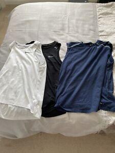 Nike Mens 3 Vests Bundle Size Medium Black, Blue, White Dri-fit Running Training