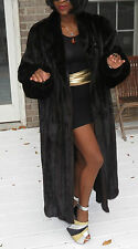 Mint 2 yr Designer Adolfo Black brown Full length Mink Fur Coat stroller  XL-XXL