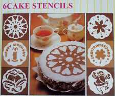 Pack of 6 cake cupcake stencil template mold birthday xmas graduation party