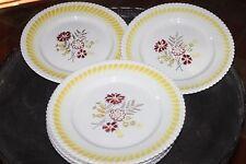 8 anciennes assiettes jaunes bordeaux et marrons - décor floral - motif vague
