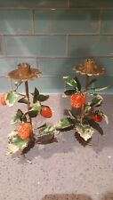 Ed Langbein Vintage Toleware Metal Strawberry Candle Stick Holder Rustic Italy