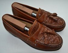 JOHNSTON & MURPHY Brown Woven Vamp Dual Tassel Mens Driving Loafers Size 9 W EUC