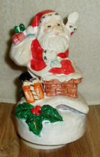 Vintage Santa Music Box Turns Plays Silent Night Santa in Chimney
