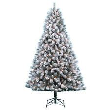 Donner & Blitzen 7.5' Pre-lit Clear Country Flock Pine Christmas Tree CLEARANCE