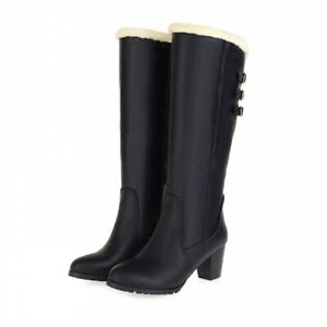 Womens Casual Round Toe Knee High Boots Warm Chunky Mid Heels Motorcycle Shoes