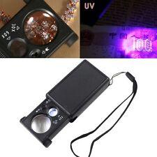 Pocket Magnifier 60X 30X Microscope Mini Jewellery Loupe Glass LED UV Currency