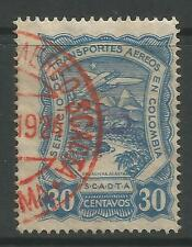 """COLOMBIA. 1923. scadta 30c blu. handstamped """"P"""". SG: 48O. usata bene."""