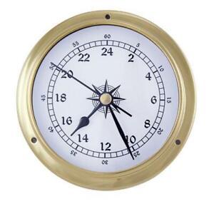 Ship Clock, Bootsuhr, Maritime 24 Hour Watch IN Brass Case Ø 4 11/16in