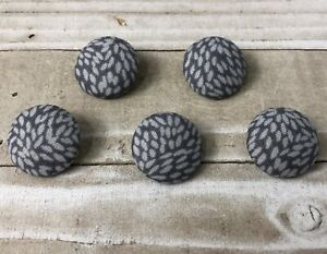 "5 Vtg Nos Cloth Fabric Covered Shank Buttons 7/8""Two Tone Grey Sunburst Button"