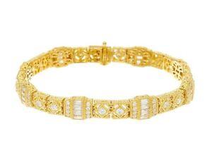 JUDITH RIPKA 14K Clad Gold Plated 925 Silver CZ TENNIS BRACELET NIB