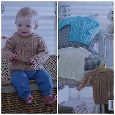Baby KNITTING PATTERN Babies Cable Cardigan Jumper & Dress Aran King Cole 4950