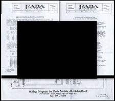 FADA 41 42 44 46 47 KA Radio Schematic Compensating Instructions & Volt Readings