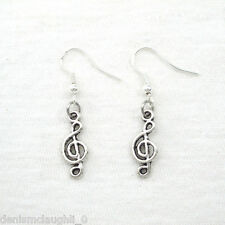 925 Sterling Silver Hooks Vintage Silver Alloy Drop Dangle Small Music Earrings
