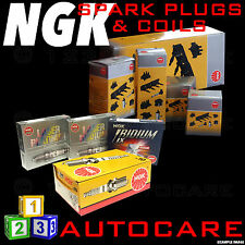 NGK Platinum Spark Plugs & Ignition Coil Set RE9B-T (2809) x2 & U5093 (48283) x2