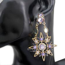 Greek Mismatch Sun Moon Star Austria Crystal Dangle Earrings Wicca