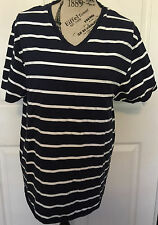 Mens French Connection FCUK Striped V-Neck T-Shirt Blue White XXL 2XL Nautical