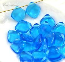 14 Diamond Drop Beads, 14x12mm, Aqua, Czech Glass Beads, 14 Beads