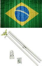 3x5 Brazil Brazilian Flag White Pole Kit Set 3'x5'