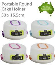 Portable Clip Lock Cake Holder & Handle Carrier Cupcake Dessert Box Round 30 cm