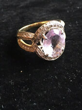 pink amethyst and zircon sterling silver ring size 7