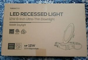 """Torchstar 8 PACK 12W 6"""" Dimmable Recessed LED Light, Ultra-Thin Downlight, 5000K"""