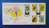 A G BRADBURY 1985 BRITISH INSECTS FIRST DAY COVER SIGNED BY DAVID BELLAMY